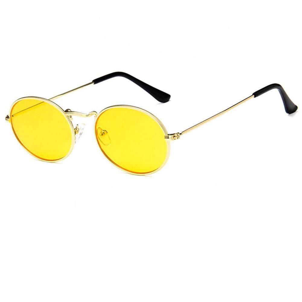 Qimiao Unisex Luar Ruangan Gaya Retro Kacamata Hitam Bergaya Bingkai Logam Oval Warna Lensa UV400 Kacamata