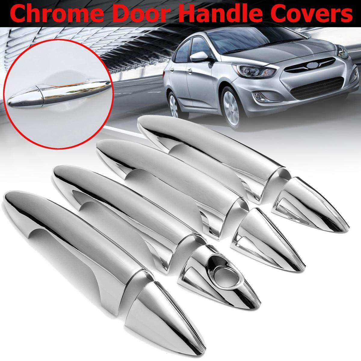 8pcs Abs Chrome 4 Door Handle Covers For Accent Solaris Dodge Attitude Cover Raiser Stang Universal Silver