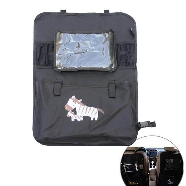 Mobil Multifungsi Back Kursi Organizer Kartun Bermotif 600D Multi-Pocket Auto Perjalanan Tas Penyimpanan dengan Transparan Tempat Tablet (Hitam Zebra)