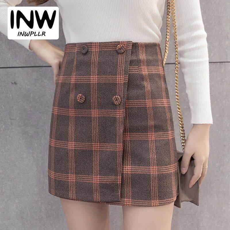 057d6fbbb36 INWPLLR New Fashion Winter Autumn Skirt Women Korean Style Plaid Skirts  Casual Button High Waist Skirt
