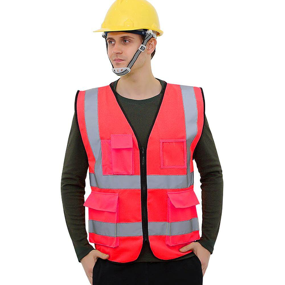 Kacoo Multi-Pockets High Visibility Zipper Front Breathable Safety Vest With Reflective Strips By Kacoo