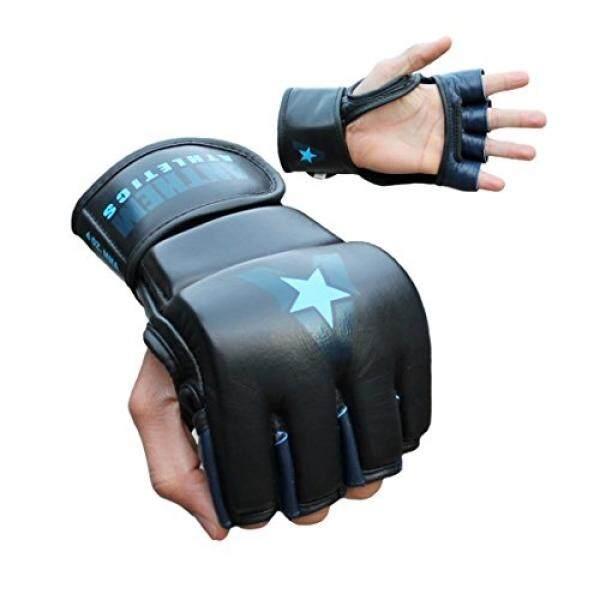 Anthem Athletics PREDATOR MMA Gloves - Training, Kickboxing, 100% Highest Grade Leather - Black, Navy & Blue - - intl