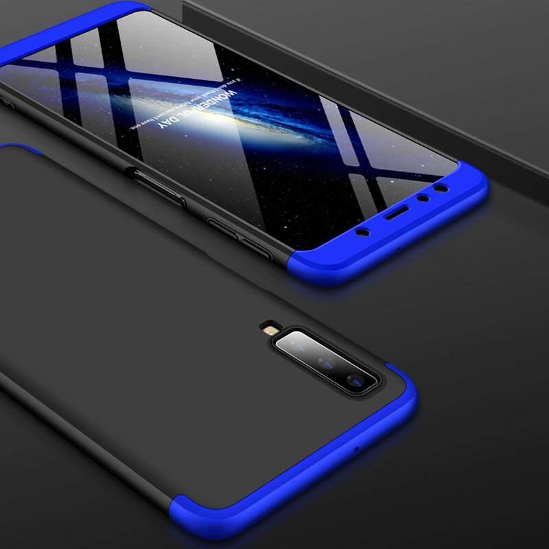 Baru 3-In-1 Casing Tahan Guncangan untuk Samsung Galaxy A7 2018 (A750) tiga Kamera Penutup Belakang Case Jatuh Pelindung HP Mewah Case Matte Anti Fingerprint 360 Derajat Penuh Perlindungan Ultra tipis Fashion Hard Hibrida PC