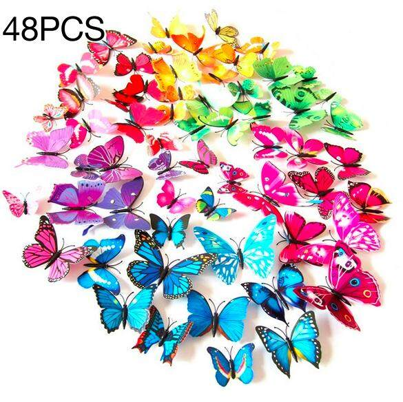 PROMOTION 48PCS DIY Wall Stickers 3D Butterfly Home Decors (Random color)