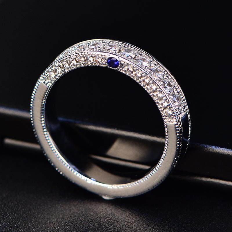 Shipei 2018 Berlian Imitasi Cincin Pipih Berukir Temperamen Mewah Mengkilap Penuh Diamond Pria dan Wanita Umum