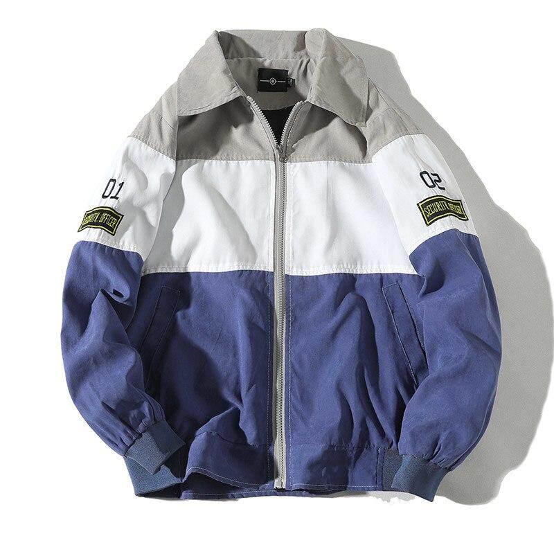 Baru Tambalan Musim Gugur dan Musim Semi Berkerudung Pria Windbreaker Tipis Hip Hop Mantel Pria Zipper Kasual Pria Jaket Terbaca 5XL