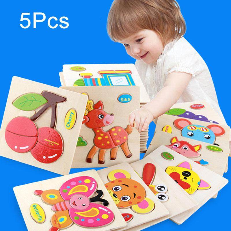5 Pcs Children Cartoon Wooden Hand Grasp Puzzle Toys Transportation Jigsaw - Intl By Super Babyyy.