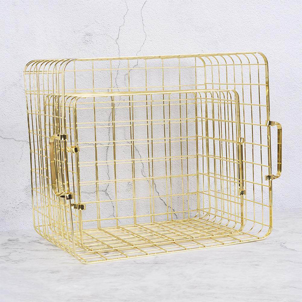 DFZX Trade Metal Rose Gold Storage Basket Chic Hand-made Iron Net Table Shelves Basket Bath Clothes Cosmetics Storage Basket