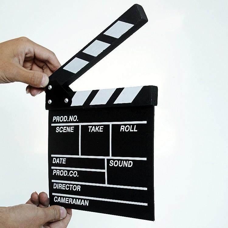 Action Board Hardwood Clap-stick Clapper Board Slate for Film Movie Cut Action Scene