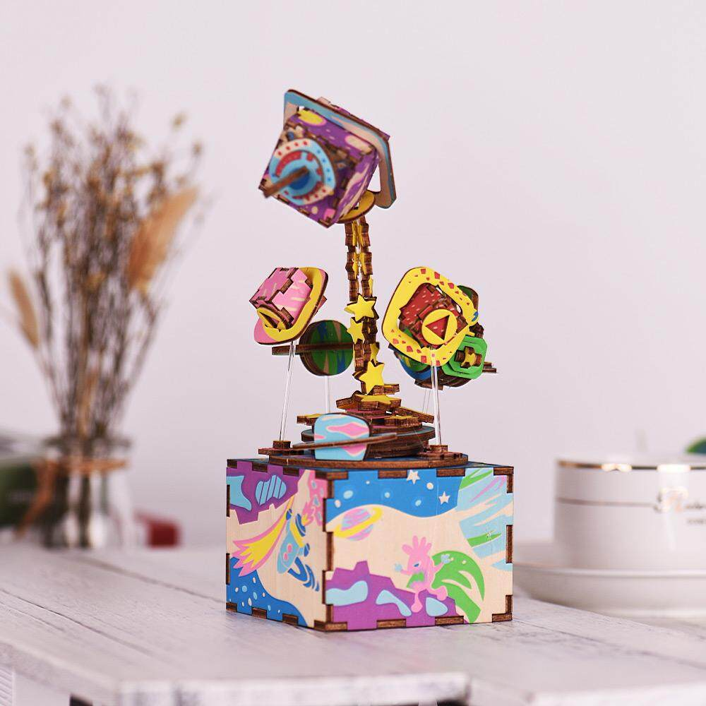 Wooden Hand Crank Music Box Diy Set Cartoon Airship Design Christmas Birthday Musical Gift Festival Presents For Friends Lovers By Tomtop.