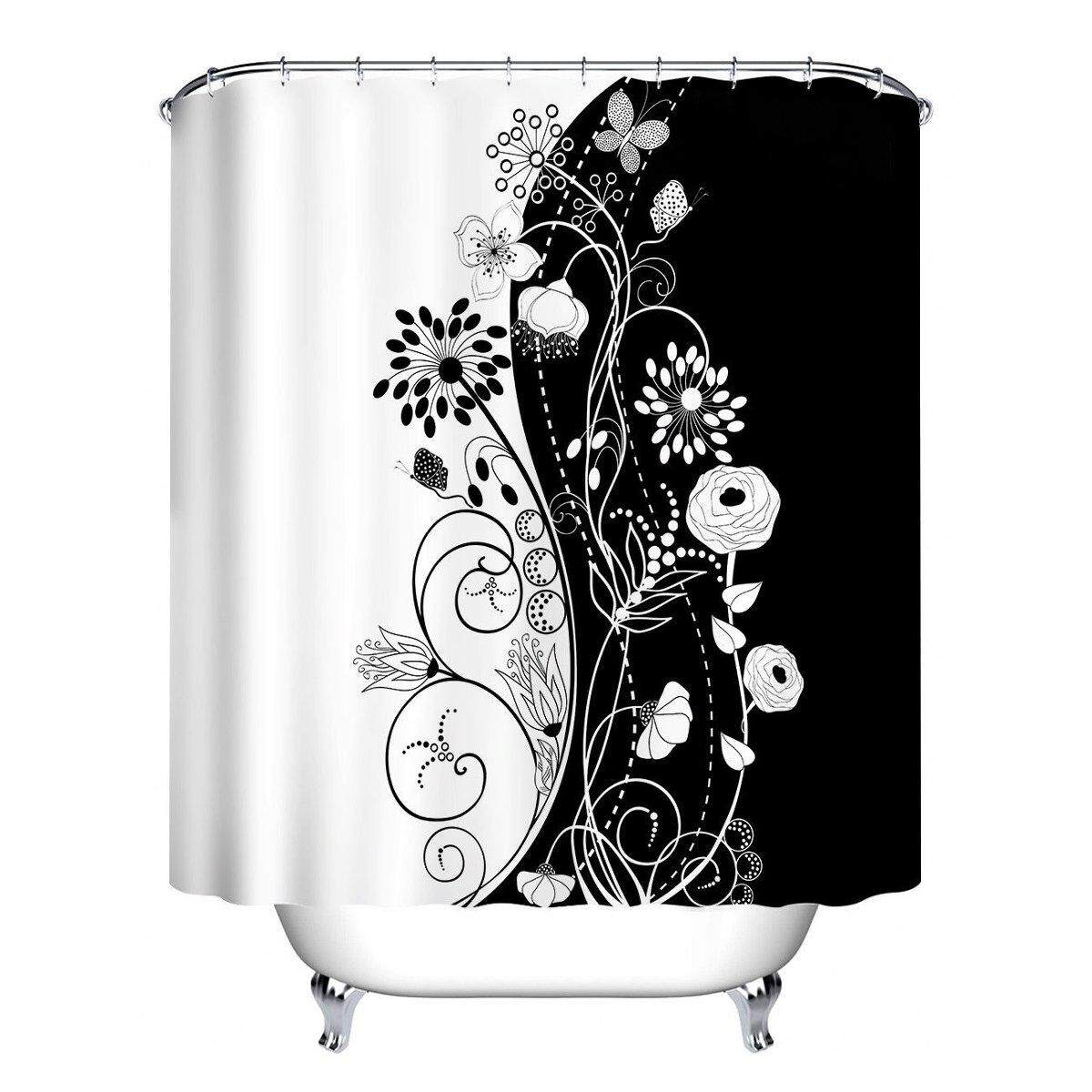 Elegant Flowers Shower Curtain Hooks Bathroom Waterproof Mat Decor Fabric Set  150*180cm By Glimmer.