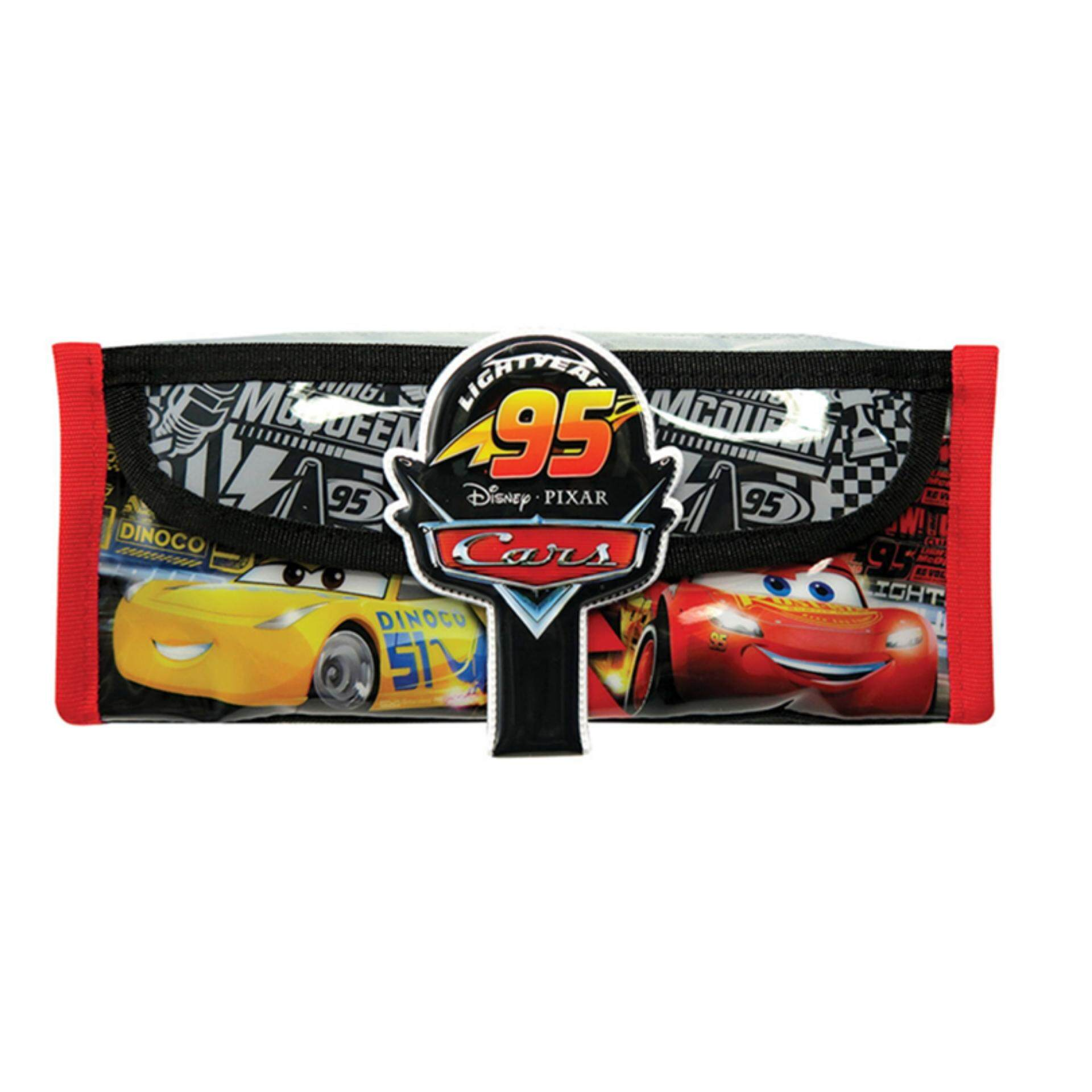 Disney Pixar Cars 3 Square Pencil Bag With Pocket - Black Colour
