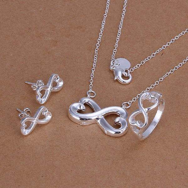 Amart 8 Shape Jewelry Sets Hot Sale 3 Pcs/ Set Silver Plated Ring+Necklace