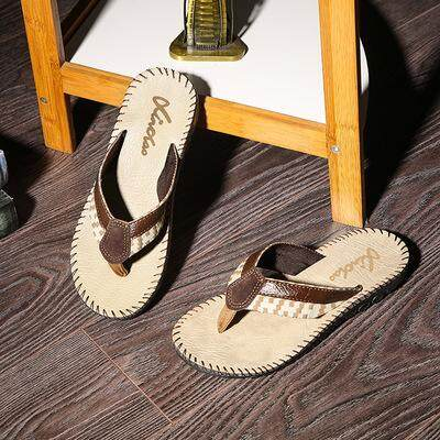 6ea15729d e363addafe387e86fa3580c752910ec7 Selling Hot Selling Summer Cool Men PU  Leather Flip Flops British Style Boardered Beach Sandals