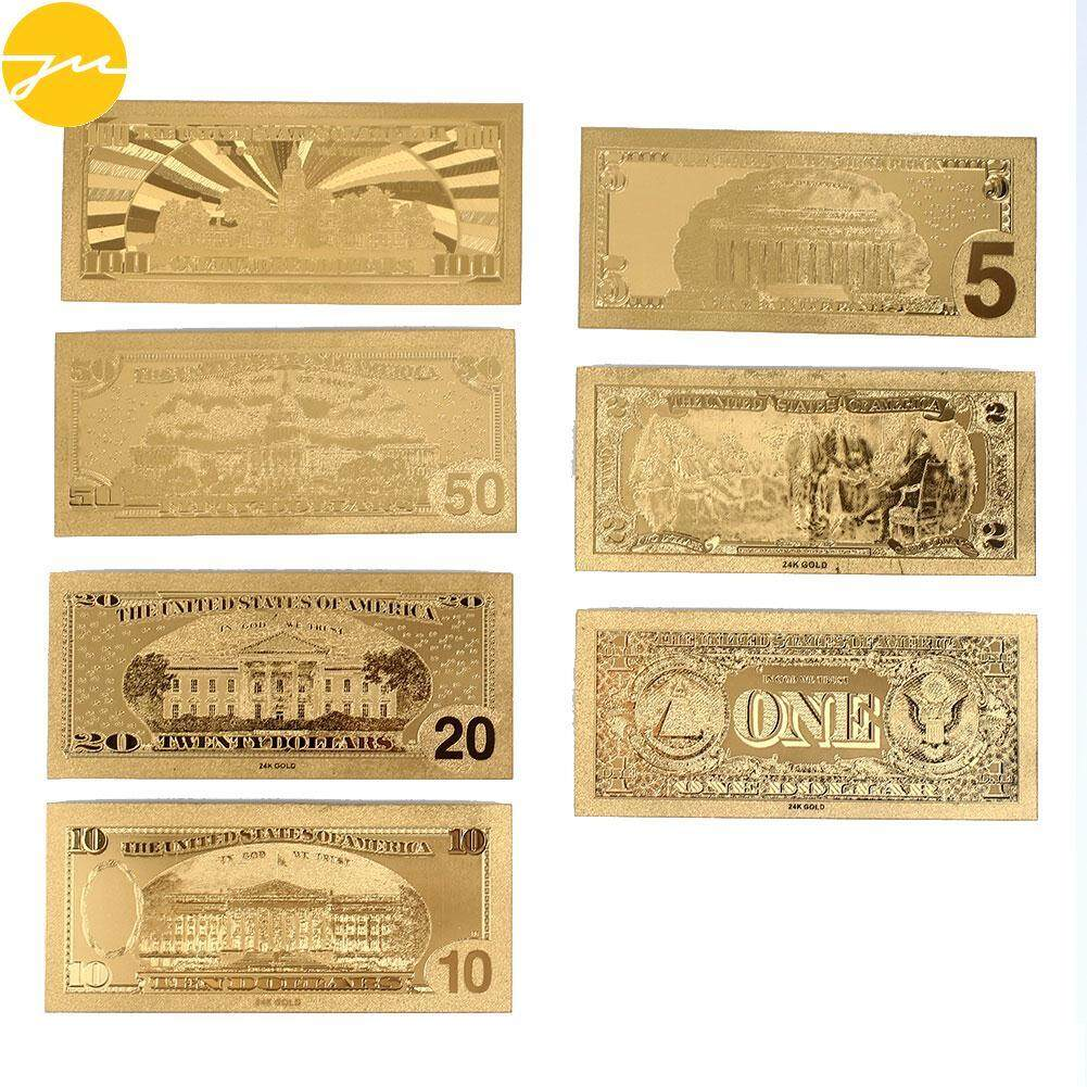 JMS 7PCS/Set 1 2 5 10 20 50 100Dollar Realistic Antique Plated Gold Collection