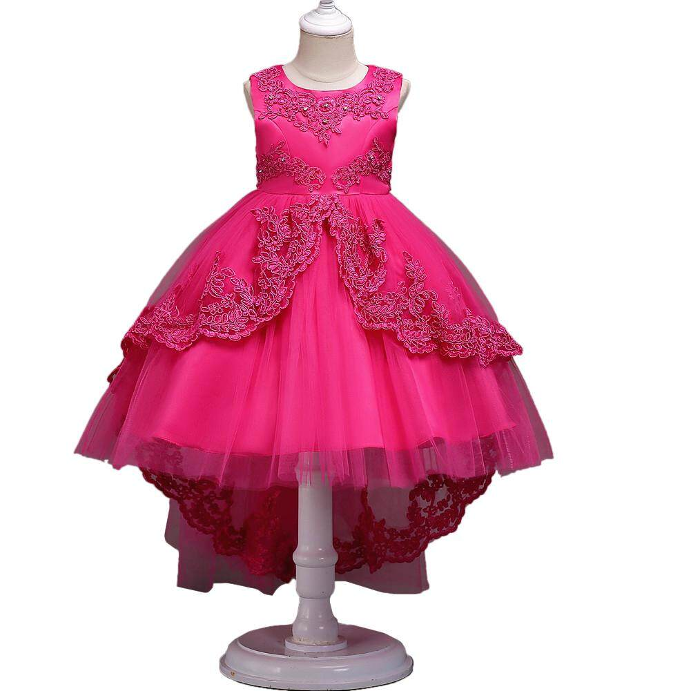 Giá bán Veecome Girls Floral Princess Lace Trailing Skirt Wedding Pageant Party Dress Kids Clothing - intl