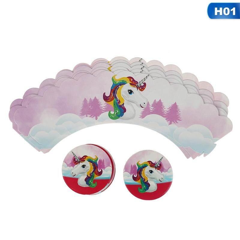 24 Pieces/set Linfang Fashion Unicorn Kartu Cupcake Indah Persediaan Dekor H01-Intl
