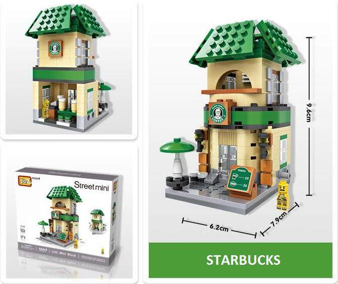 [8 Options] LOZ MINI Street Series Season 1 - 2 Individual Page : McDonalds, Starbucks, 7-11, Burger King, Apple Switch, Nike, KFC, Doughnut Shop Lookalike Loz Mini Block Figure