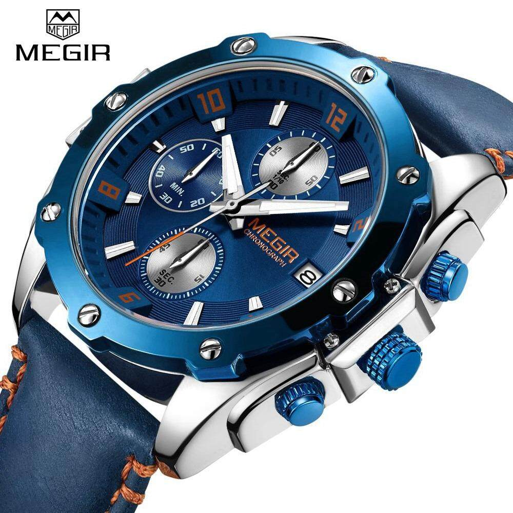 MEGIR Top Luxury Brand Watch Famous Fashion Sports Men Quartz Watches Leather Wristwatch For Male MGE2074G Malaysia