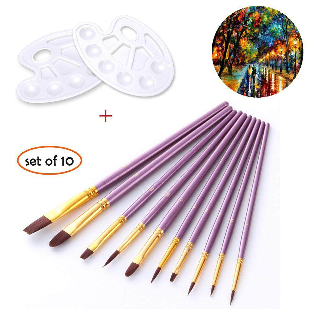 yiuhua Paint Brush Set Acrylic Xpassion 10pcs Professional Paint Brushes Artist For Watercolor Oil Acrylic Painting - intl
