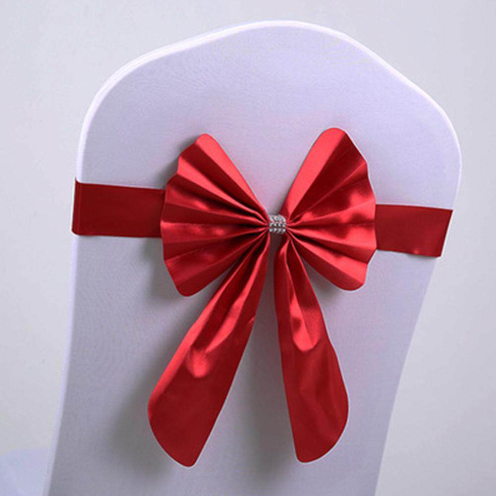 ผสมผ้าคลุมเก้าอี้ยืดได้โบว์คาดงานแต่งงานหัวเข็มขัดสายคาดแบบเลื่อนได้อุปกรณ์ตกแต่ง By Mbike_.