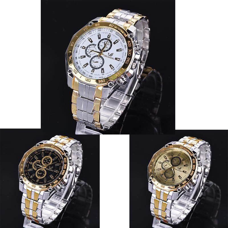 2637ded4a53 Linemart 3pcs Women s Steel Luxury Analog Quartz Wrist Watch (White  Gold Black)