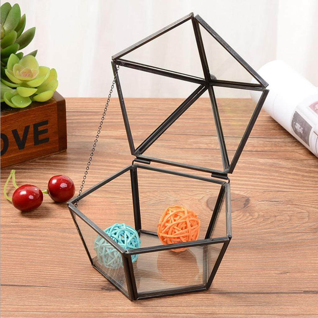 BolehDeals Glass Geometric Terrarium Tabletop Planter for Air Plants Succulent Fern Moss DIY Wedding Decorative Box (No Plants)