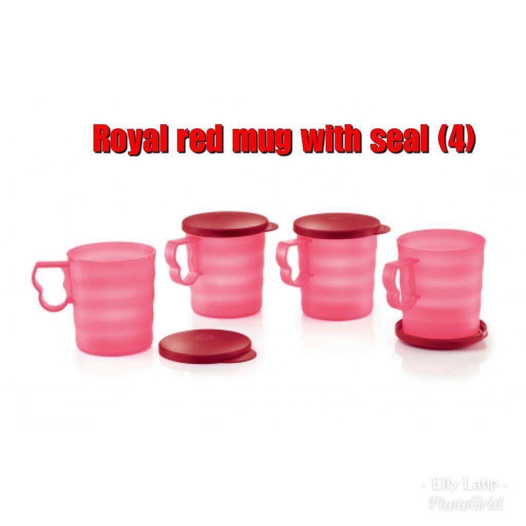 Tupperware Royal Red Mug with Seal (4) 350ml