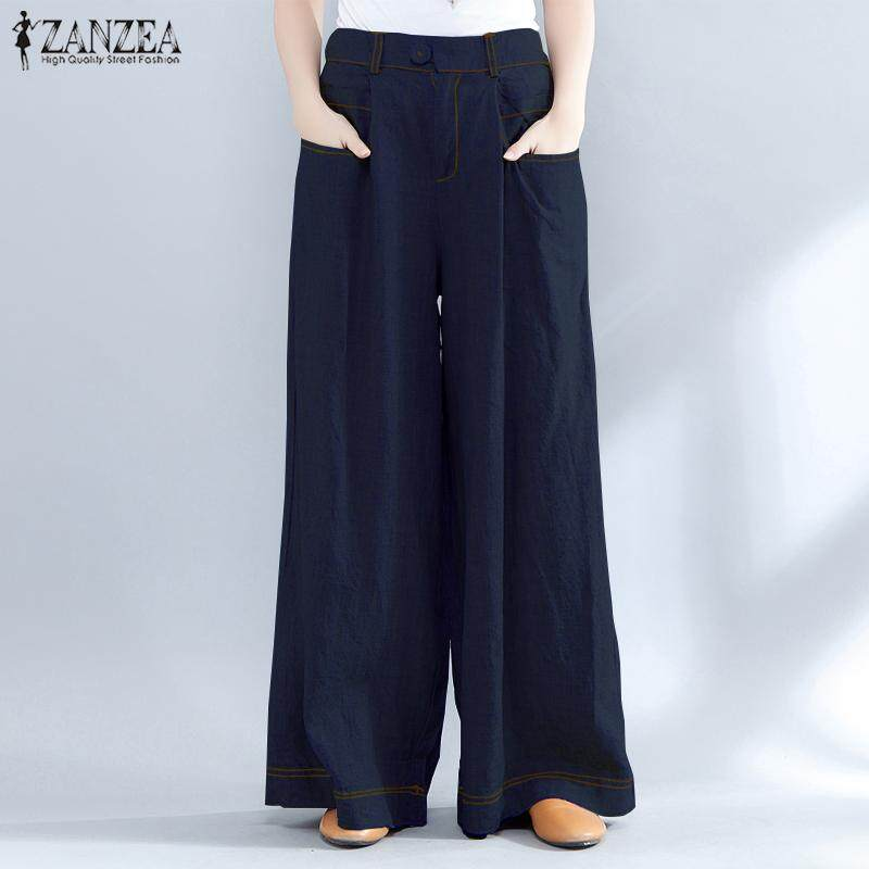 6f5845e2d99 ZANZEA S-5XL Women High Waist Casual Wide Legs Oversize Harem Pants  Trousers Plus Size