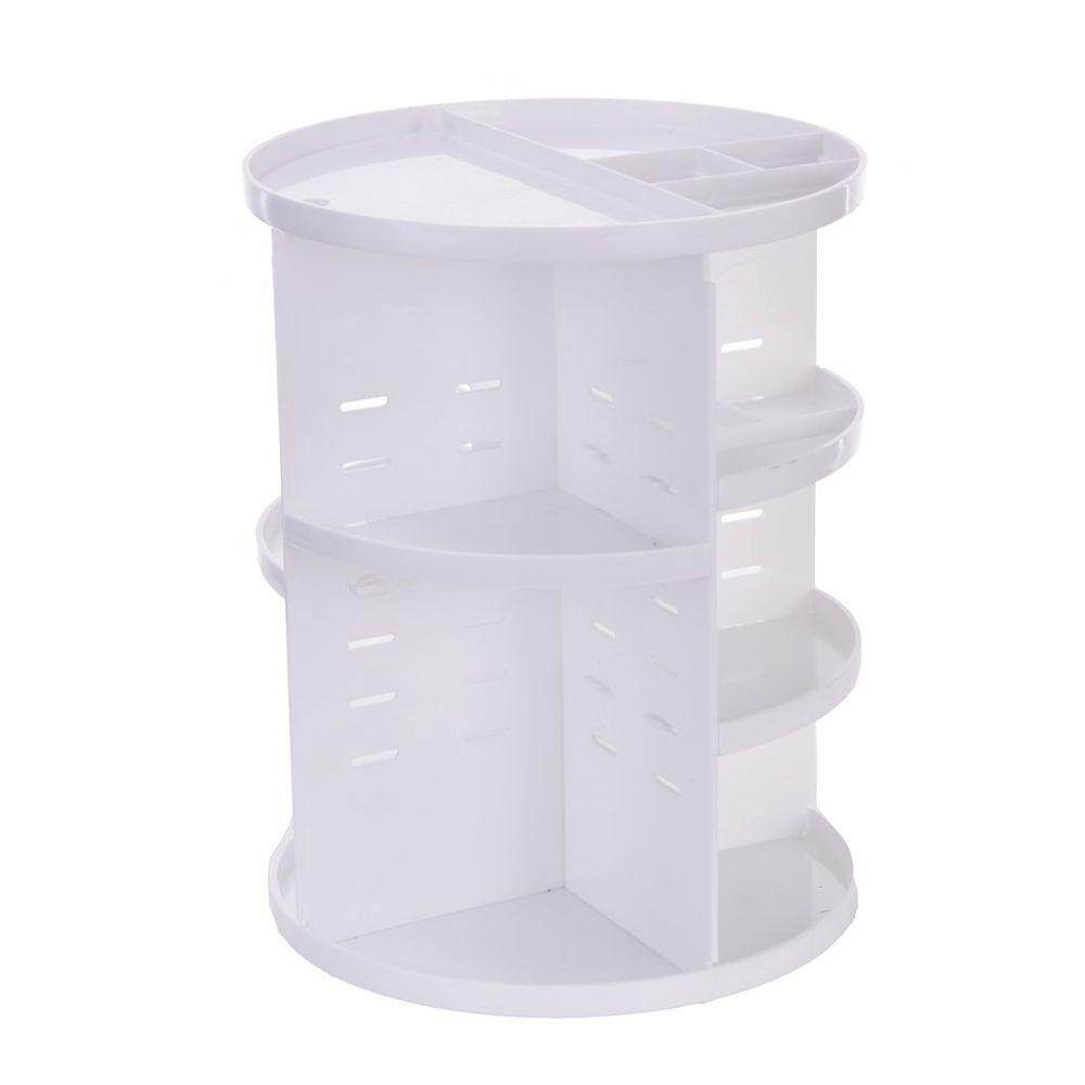 360 Degree Rotating MakeUp Organizers and Storage Box Gift For Women Adjustable Multi-Function Cosmetic Case Brush Holder Stand Countertop White