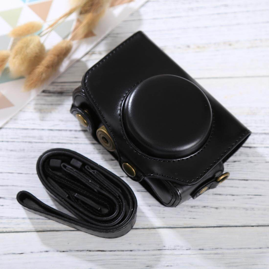 Penuh Kamera Badan PU Case Kulit Tas dengan Tali untuk Canon PowerShot SX730 HS/SX720 HS (Hitam)-Intl