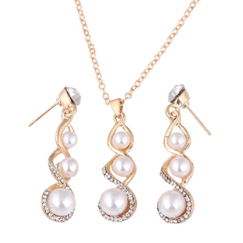 Linfang Kreativitas Diamond Dirancang Liontin Mutiara Kalung Mode Anting-Anting Pesta Wanita Set Perhiasan-