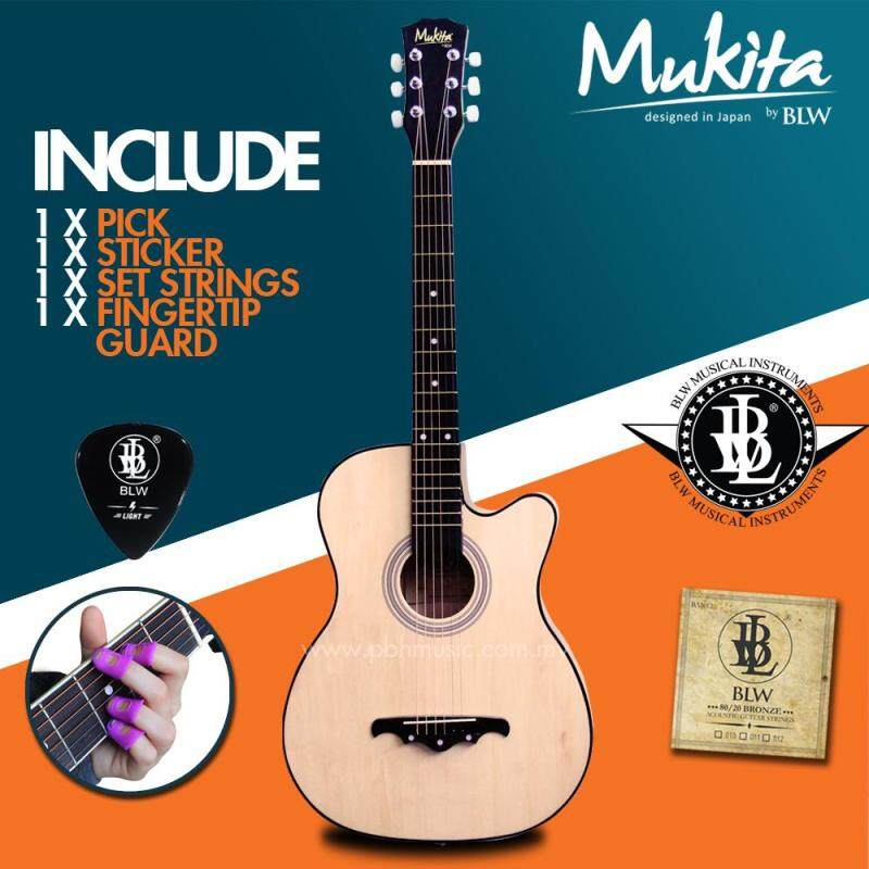 Mukita by BLW Standard Acoustic Folk Cutaway Basic Guitar Package 38 Inch for beginners with String Set, Fingertip Guard, Pick and Merchandise Sticker (Natural) Malaysia