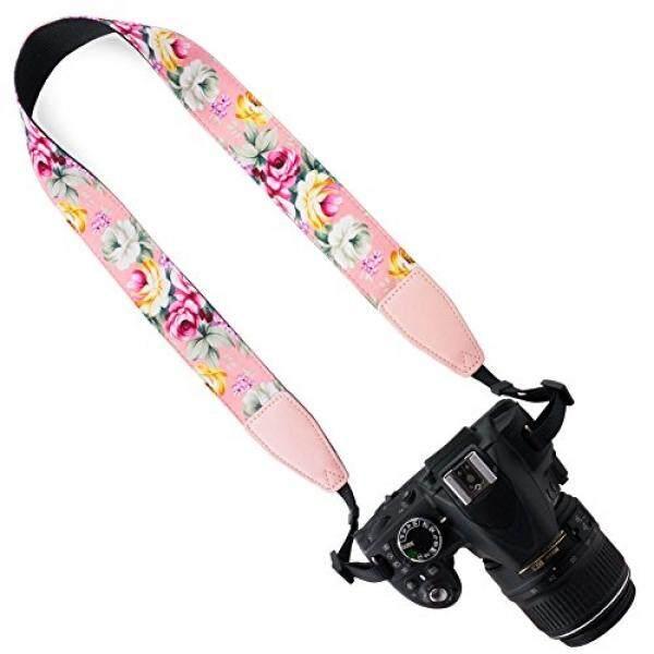 DSLR/SLR Kamera Leher Tali Sabuk Bahu-Wolven Kapas DSLR/SLR Kamera Leher Tali Sabuk Bahu untuk Nikon Canon Samsung Pentax sony Olympus atau Kamera (Merah Muda Bunga) -Intl