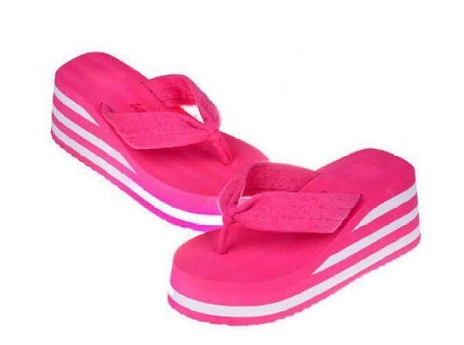 6 Cm Flip Flop Wedges Heels Sandal Selop Musim Panas Sepatu Wanita Wanita Gadis Sepatu Pantai Cahaya Platform Bawah Tipe Sederhana-Intl