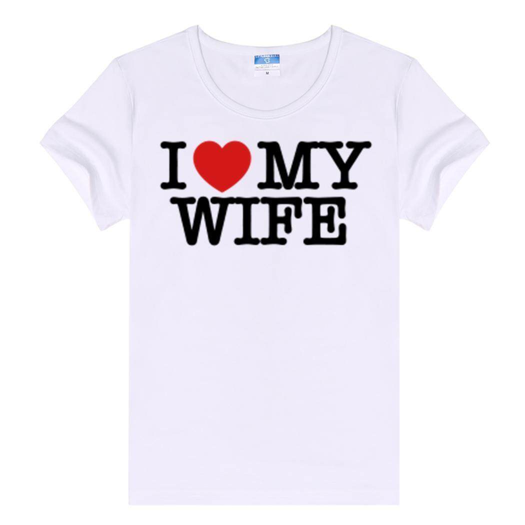 Toprank Wanita Pakaian Santai Bundar Polos Leher Lengan Pendek T-shirt Saya Mencintai Istri Saya Benar-Intl