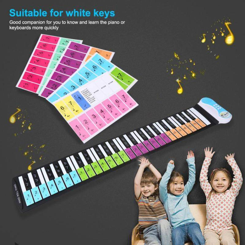 Removable 88 Keys Piano Electronic Keyboard Note White Keys Stickers Labels(Multicolor) Malaysia