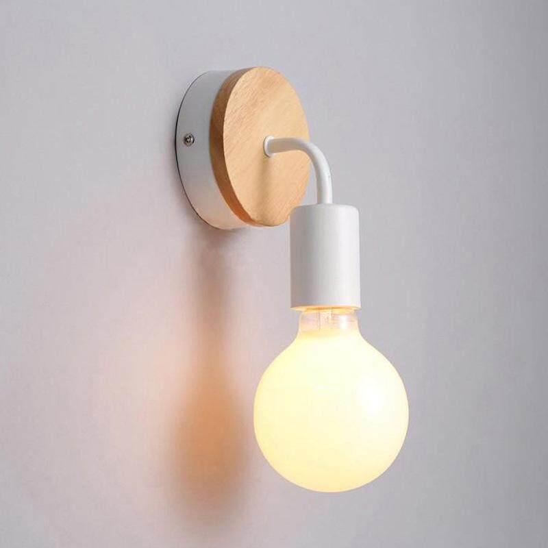 creative corridor light LED aisle lamp with bulb modern iron art wooden wall lamp Singapore