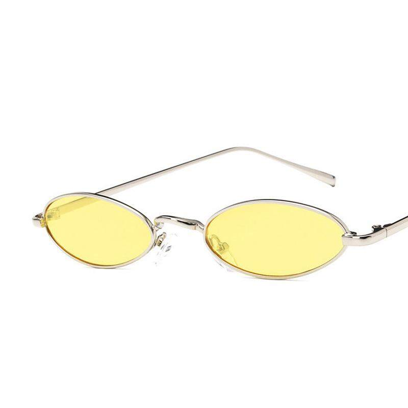 Jayoyi New Mini Small Fine Metal Frame Water Drops Oval Sunglasses Women Vintage Men Sun Glasses -Yellow - intl