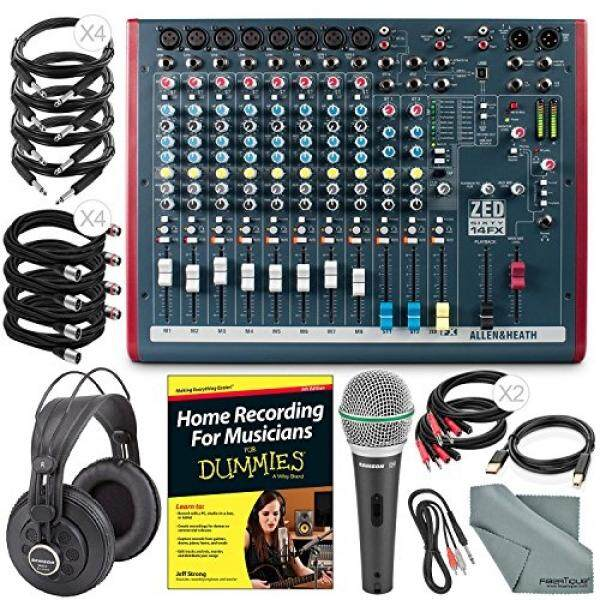 Allen & Heath ZED60-14FX Compact Live & Studio Mixer with Digital FX and USB Port + Platinum Bundle w/ Microphone, Headphones, Home Recording for Musicians, Fibertique Cloth, 12X Cables