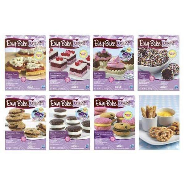 Easy Bake Oven Refills Set of 8 Kits - Truffles, Cakes, Pies, Pretzels, Cookies, Pizza - intl
