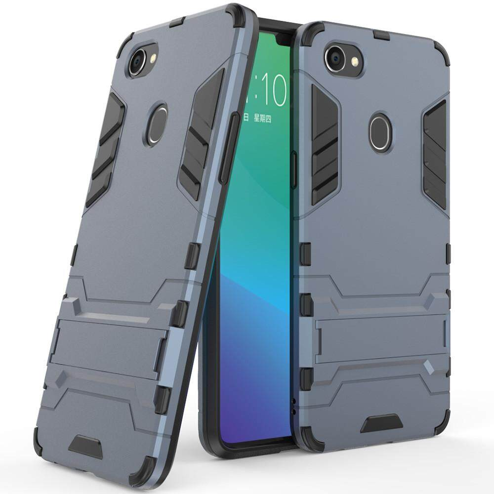 ... For OPPO F7 Case Luxury Iron Man Stand Cover Hard Armor and Soft Silicone TPU
