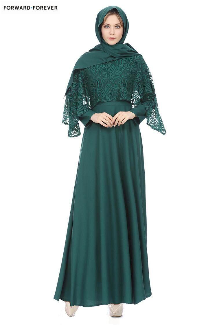 New Fake Two Pieces Turkish Women Long Sleeve Dress Fashion Muslim Lace  clothing jilbabs and abaya 0817e9852261