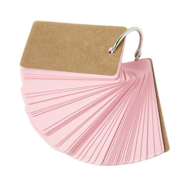 2pcs Binder Ring Easy Flip Flash Cards Study Cards, 100 Blank Pages,pink