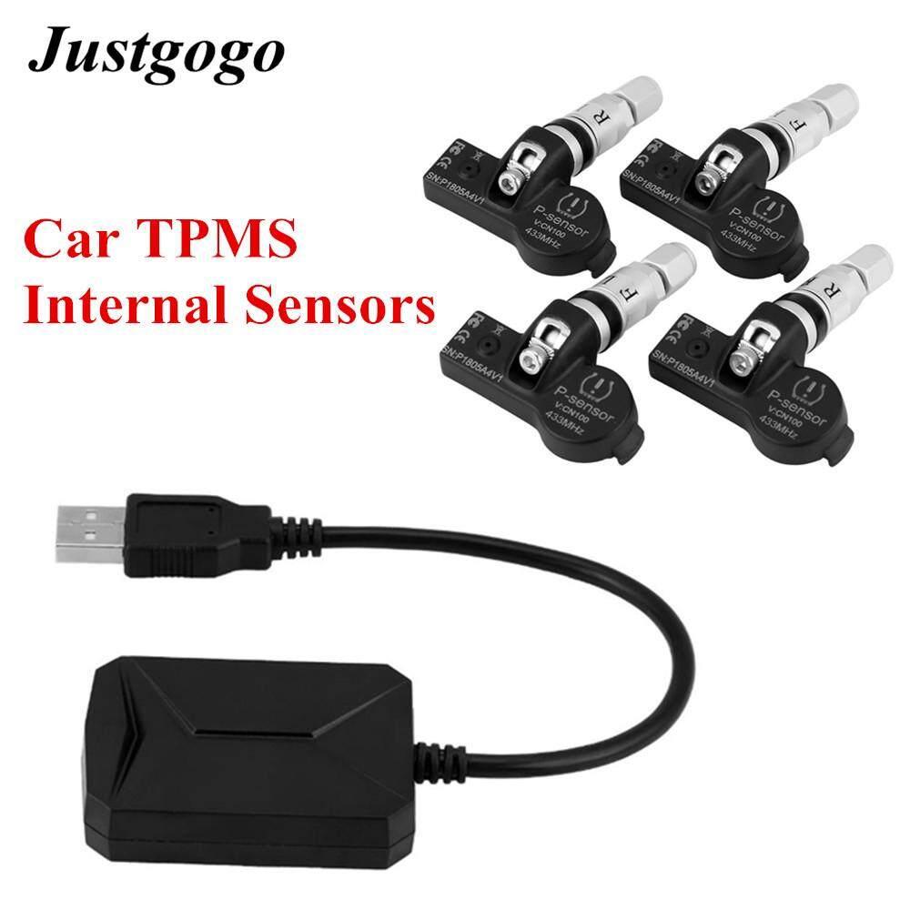 Justgogo Usb รถแรงดันยาง Tmps ระบบควบคุม Tpms เซ็นเซอร์ภายในสำหรับระบบนำทางในรถยนต์ระบบแอนดรอยด์จอแสดงผล.