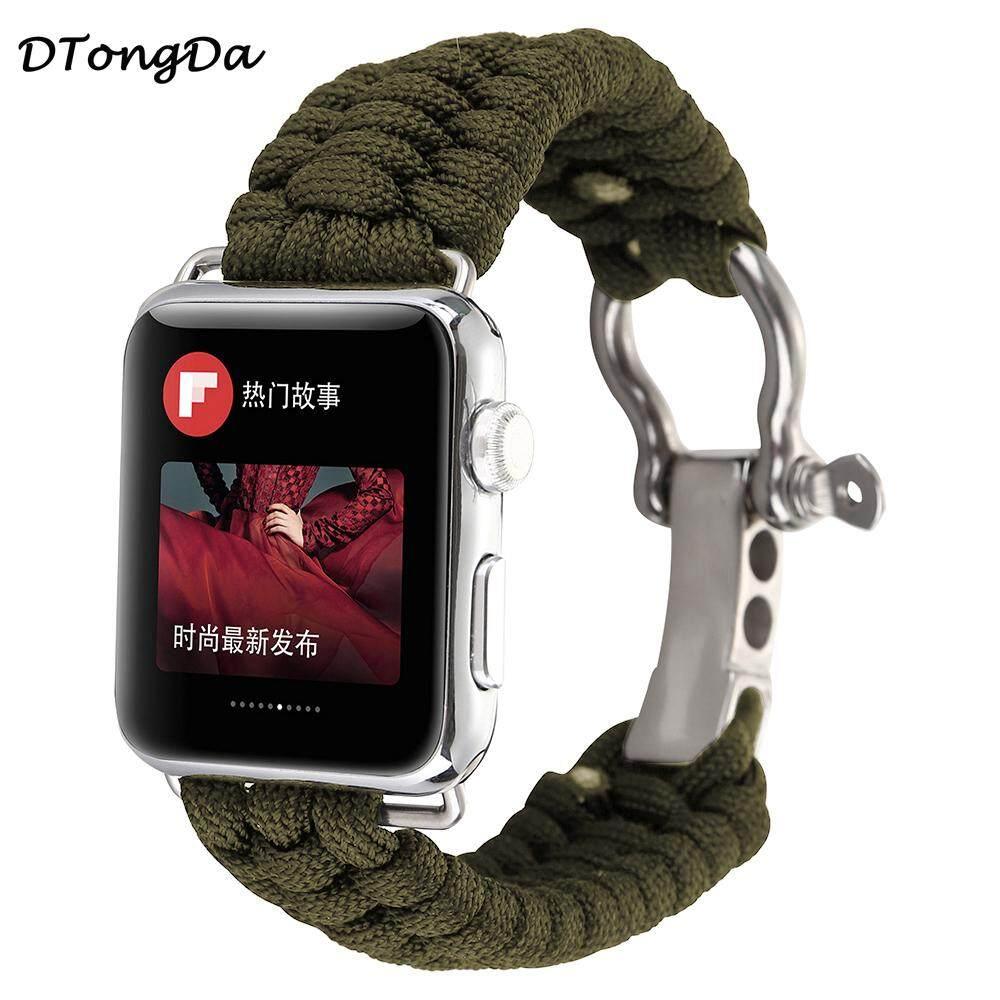DTD Anyaman Tali Nilon Gelang Jam untuk IWatch Jam Tangan Apple 1 2 3 42 Mm