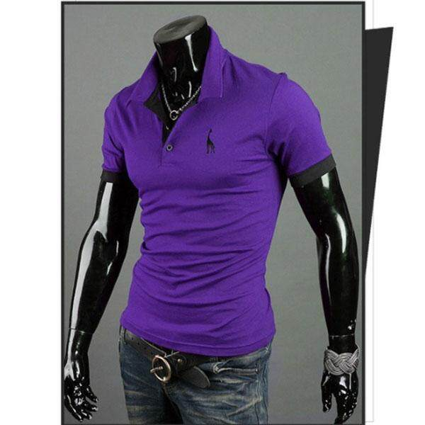 HOLA New Fashion Men Polo Shirt Solid Color Slim Long Sleeve Cotton Casual T-Shirt Plus Size - intl