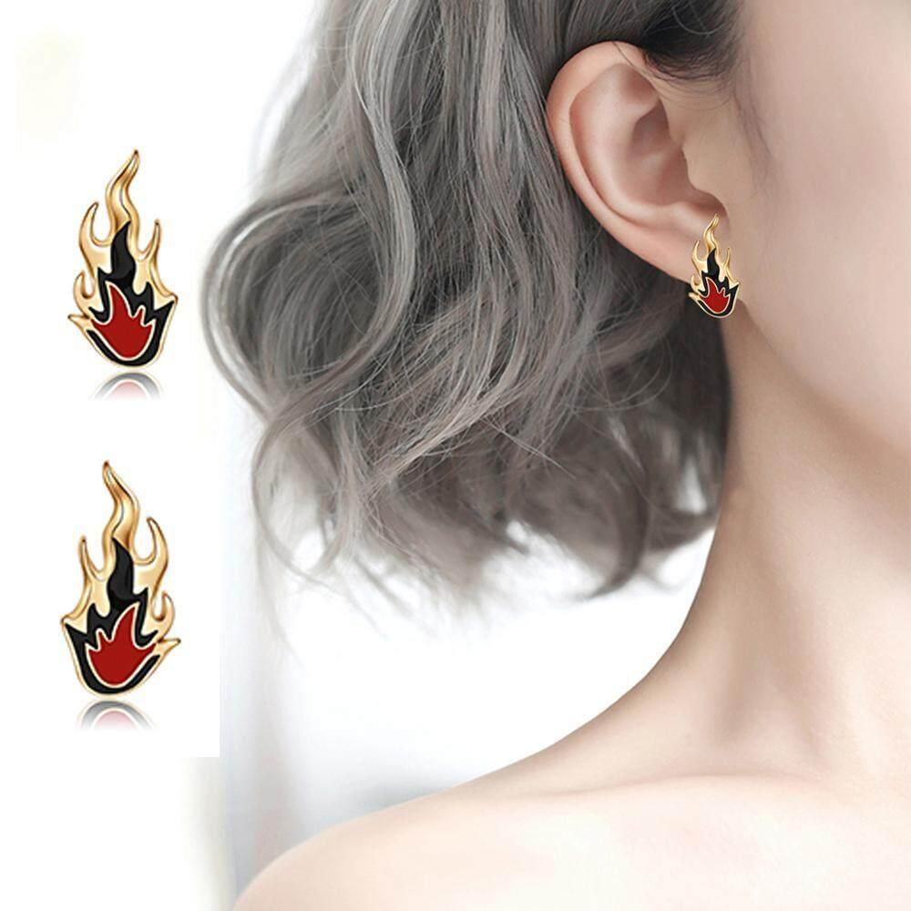 1 Pair Fashionable Women Flame-shape Girl Ear Stud Earrings Decorations Jewelry Accessory - intl