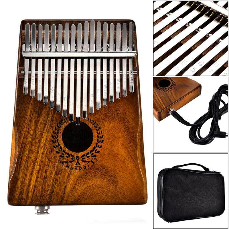Veecome 17 Keys EQ kalimba Acacia Thumb Piano Link Speaker Electric Pickup with Bag Cable Musical Accessories Malaysia