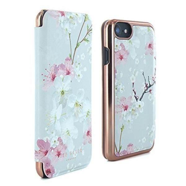 Sarung Telepn Seluler TED BAKER Resmi SS17 Gaya Folio Case untuk Apple iPhone 8/7-Fashion Cermin Bermerek Case untuk Profesional Wanita Bunga Indah cetak Motif Bunga-Brook-Oriental Blossom-Intl